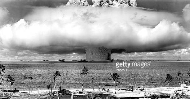 United States detonating an atomic bomb at Bikini Atoll in Micronesia for the first underwater test of the device in 1946
