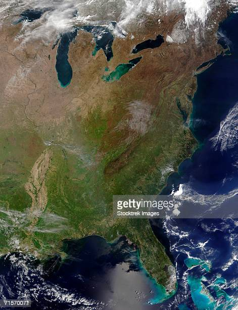 """""""united states east coast, satellite image"""" - eastern usa stock photos and pictures"""