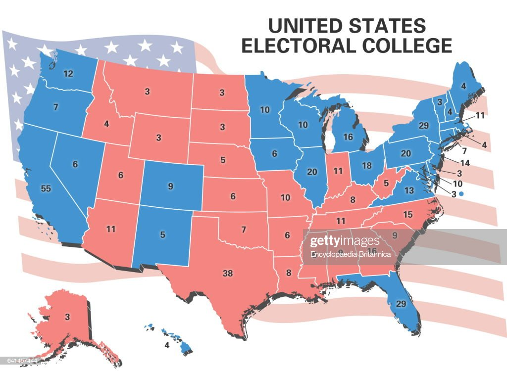 United States Electoral College Map Showing Number Of Electoral