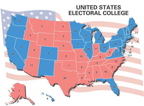 United States electoral college map showing number of electoral ...