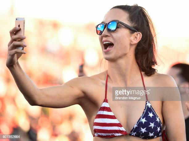 United States fan cheers as the team takes on Argentina in the Cup Final match during the USA Sevens Rugby tournament at Sam Boyd Stadium on March 4...
