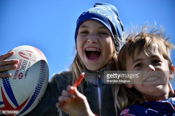 United States fan poses as the team takes on Fiji during the USA Sevens Rugby tournament at Sam Boyd Stadium on March 4 2018 in Las Vegas Nevada