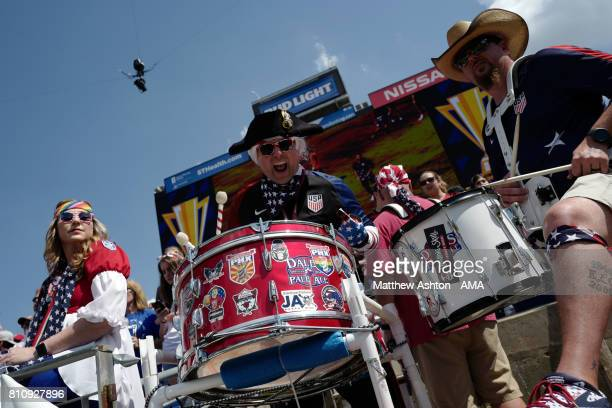 United States fans beat drums during the 2017 CONCACAF Gold Cup Group B match between the United States and Panama at Nissan Stadium on July 8 2017...