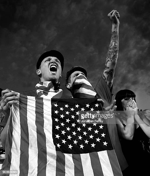 United States fans celebrate during the FIFA 2010 World Cup Qualifier match between the United States and El Salvador at Rio Tinto Stadium on...