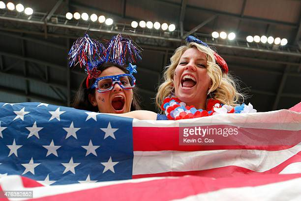 United States fans cheer before the FIFA Women's World Cup 2015 Group D match against Australia at Winnipeg Stadium on June 8 2015 in Winnipeg Canada