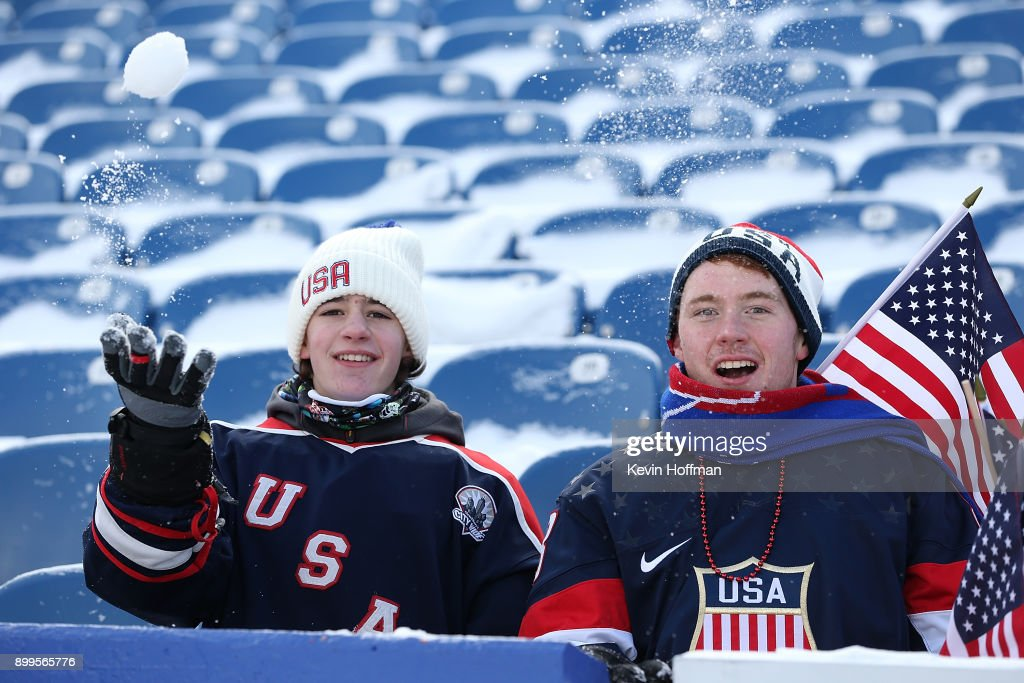 United States fans in the stands before the game against Canada at the IIHF World Junior Championship at New Era Field on December 29, 2017 in Buffalo, New York.