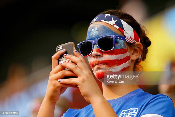 United States fans look on before the FIFA Women's World Cup 2015 Group D match against Australia at Winnipeg Stadium on June 8 2015 in Winnipeg...