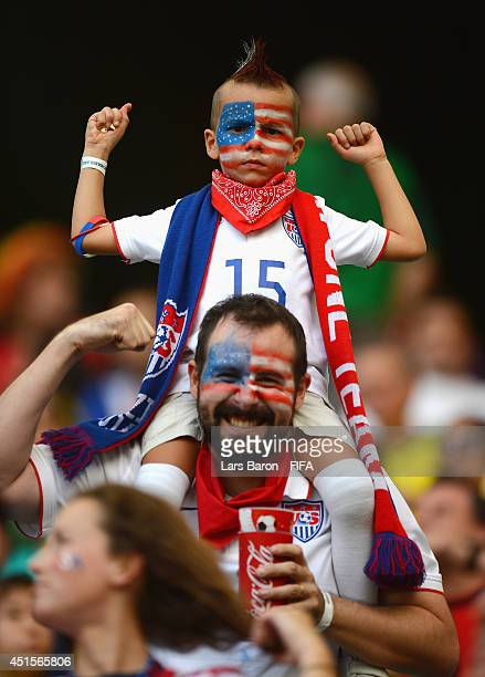 United States fans soak up the atmosphere prior to the 2014 FIFA World Cup Brazil Round of 16 match between Belgium and USA at Arena Fonte Nova on...