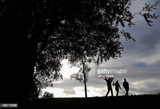 United States fans walk down the 5th hole during the Morning Fourballs of the 2014 Ryder Cup on the PGA Centenary course at the Gleneagles Hotel on...