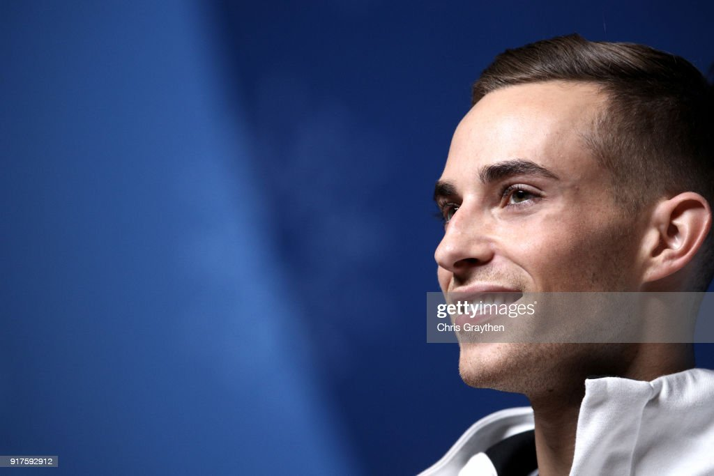 United States Figure Skater Adam Rippon speaks during a press conference at the Main Press Centre on February 13, 2018 in Pyeongchang-gun, South Korea.