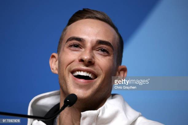 United States Figure Skater Adam Rippon speaks during a press conference at the Main Press Centre on February 13 2018 in Pyeongchanggun South Korea