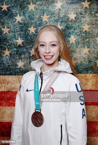 United States figure skater Bradie Tennell poses with her bronze medal in the team event on the Today Show Set on February 23 2018 in Gangneung South...