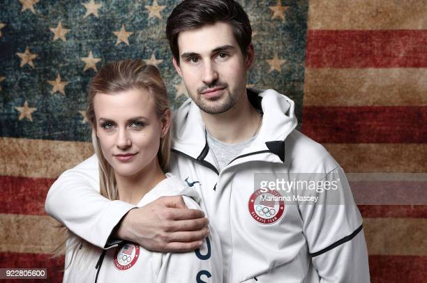 United States Figure skaters Madison Hubbell and Zachary Donohue pose for a portrait on the Today Show Set on February 21 2018 in Gangneung South...