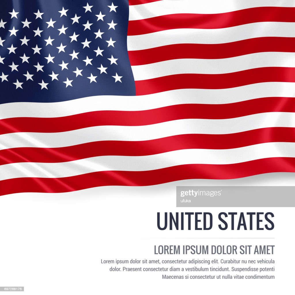 United States Flag Silky Flag Of United States Waving On An Isolated