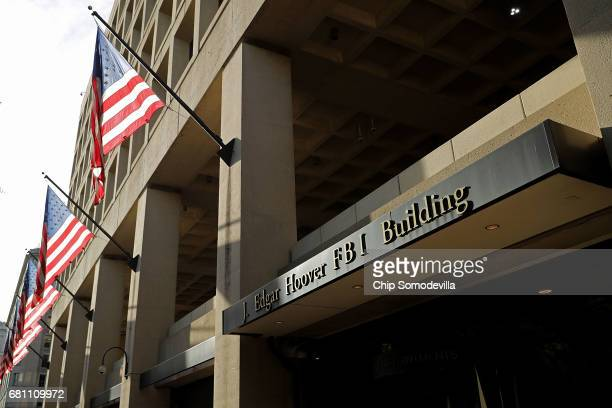 United States flags hang in front of the Federal Bureau of Investigation Edgar J Hoover Building May 9 2017 in Washington DC On the recommendation of...