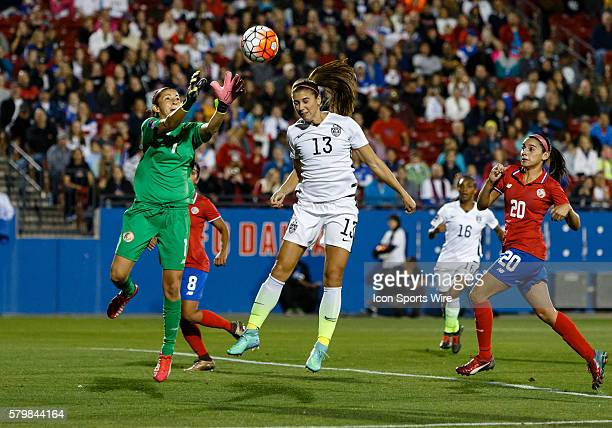 United States Forward Alex Morgan attempts a header with Costa Rica Goalkeeper Dinnia Diaz defending during the Women's Olympic qualifying soccer...