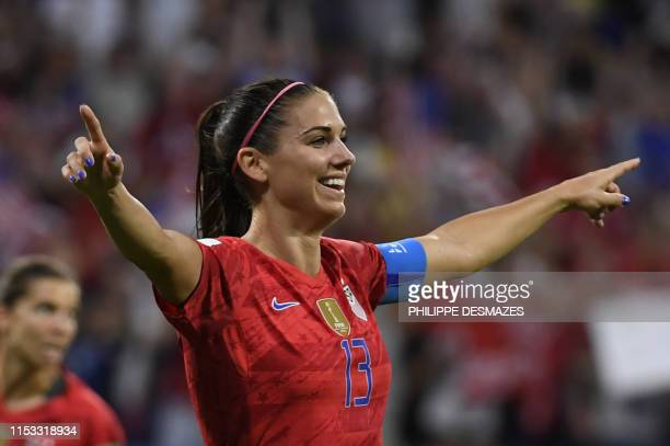 United States' forward Alex Morgan celebrates after scoring a goal during the France 2019 Women's World Cup semifinal football match between England...