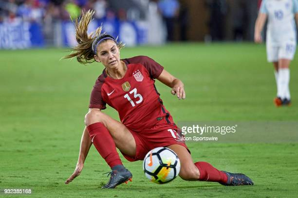 United States forward Alex Morgan controls the ball during the SheBelieves Cup match between USA and England on March 07 at Orlando City Stadium in...