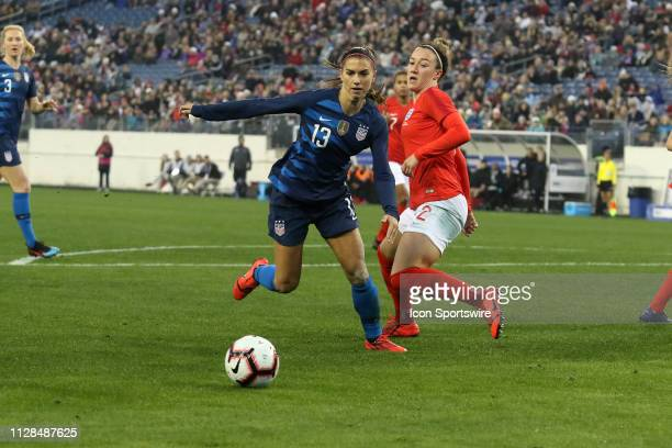 United States forward Alex Morgan during the She Believes Cup match between the United States and England at Nissan Stadium on March 2nd 2019 in...