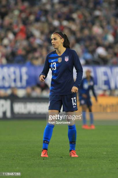 United States forward Alex Morgan during the SheBelieves Cup match between The United States and England March 2 at Nissan Stadium in Nashville...