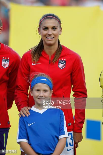 United States forward Alex Morgan looks on during the International Friendly match between the United States and Mexico on April 5 2018 at EverBank...