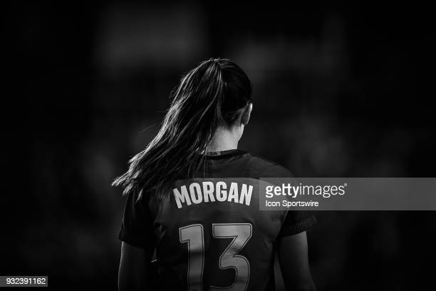 United States forward Alex Morgan looks on during the SheBelieves Cup match between USA and England on March 07 at Orlando City Stadium in Orlando...