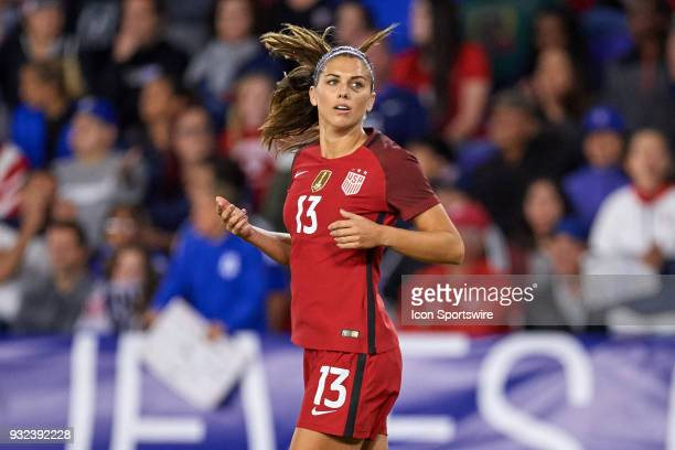 United States forward Alex Morgan reacts after a play during the SheBelieves Cup match between USA and England on March 07 at Orlando City Stadium in...