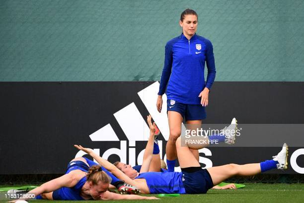 United States' forward Alex Morgan takes part in a training session in Lyon on July 1 during the France 2019 football Women's World Cup The...