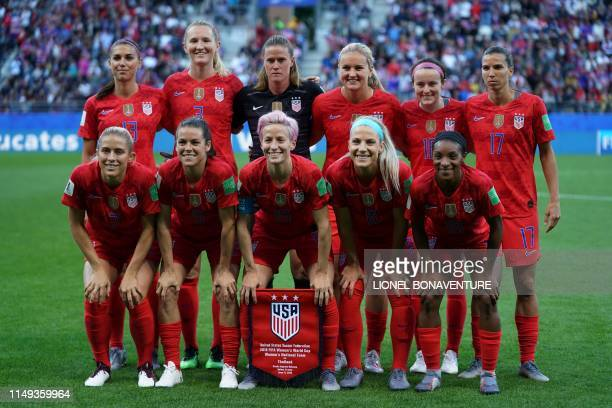 United States' forward Alex Morgan United States' midfielder Sam Mewis United States' goalkeeper Alyssa Naeher United States' midfielder Lindsey...