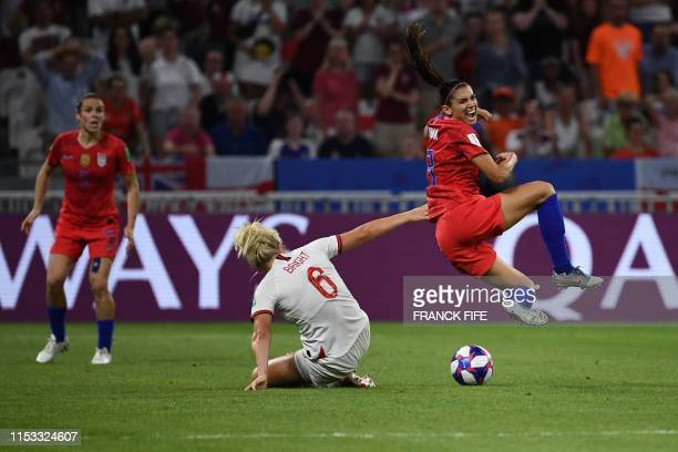 United States' forward Alex Morgan vies for the ball with England's defender Millie Bright during the France 2019 Women's World Cup semifinal...