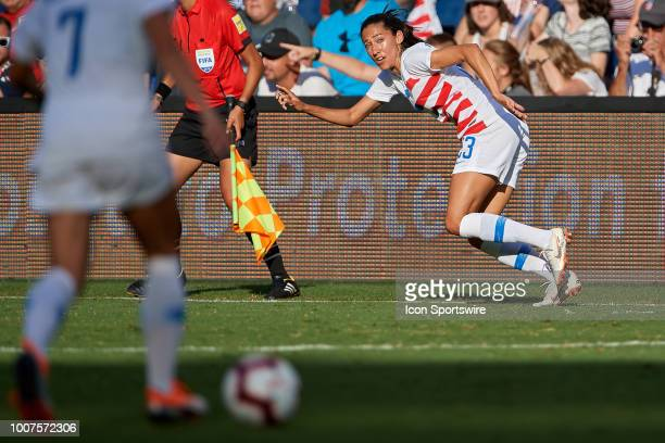 United States forward Christen Press calls for the ball from United States defender Abby Dahlkemper in game action during a Tournament of Nations...