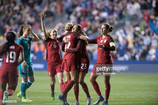 United States Forward Christen Press hugs United States Forward Lynn Williams after her goal in the second half during the game between the United...