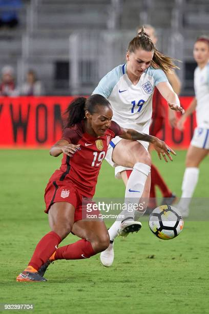United States forward Crystal Dunn battles with England forward Mel Lawley for a loose ball during the SheBelieves Cup match between USA and England...