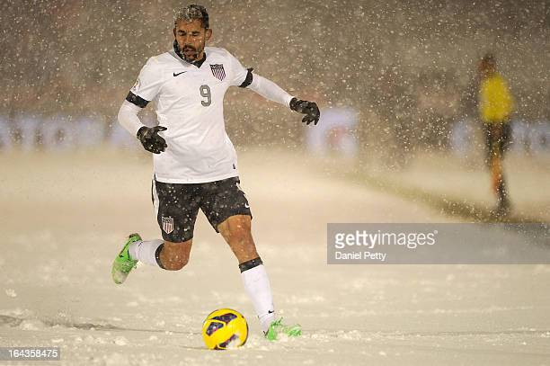 United States forward Herculez Gomez goes after the ball during the second half of a FIFA 2014 World Cup Qualifier game at Dick's Sporting Goods Park...