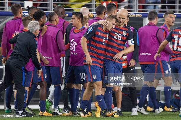 United States forward Jordan Morris celebrates with United States midfielder Michael Bradley after scoring a goal during the CONCACAF Gold Cup Final...