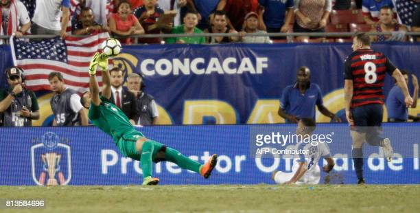 United States forward Jordan Morris has a shot on goal saved by goalkeeper Kevin Olimpa of Martinique during the second half of their Group B Gold...