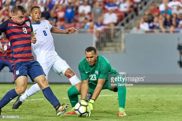 United States forward Jordan Morris scores a goal past Martinique goalkeeper Kevin Olimpa during a CONCACAF Gold Cup Group B match between the United...