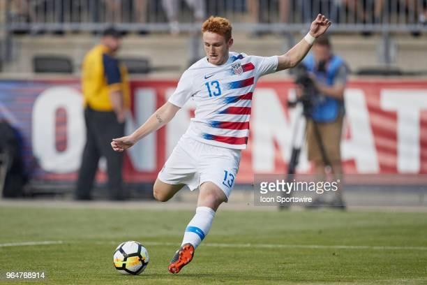 United States forward Josh Sargent shoots the ball for a goal in the second half of the international friendly match between the United States and...