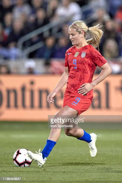 United states forward Lindsey Horan dribbles the ball in game action during an International friendly match between the United states and Australia...
