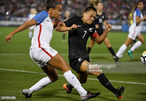 United States forward Mallory Pugh and New Zealand defender Ali Riley chase the ball in the second half at Dick's Sporting Goods Park September 15...