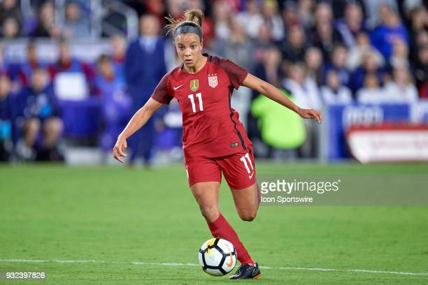 United States forward Mallory Pugh dribbles the ball during the SheBelieves Cup match between USA and England on March 07 at Orlando City Stadium in...