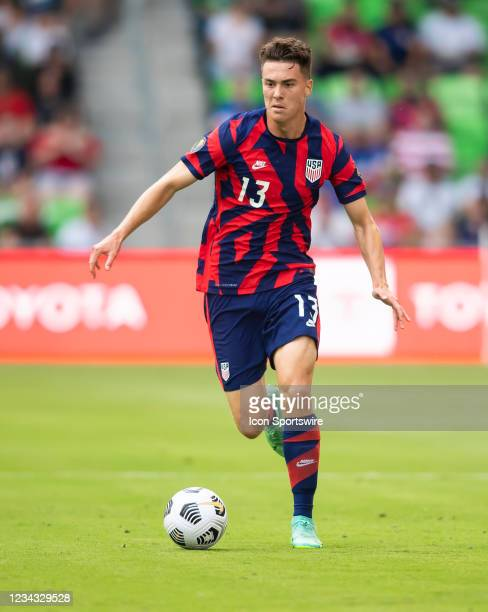 United States forward Matthew Hoppe looks for an opening during the Gold Cup semifinal match between the United States and Qatar on Thursday July...