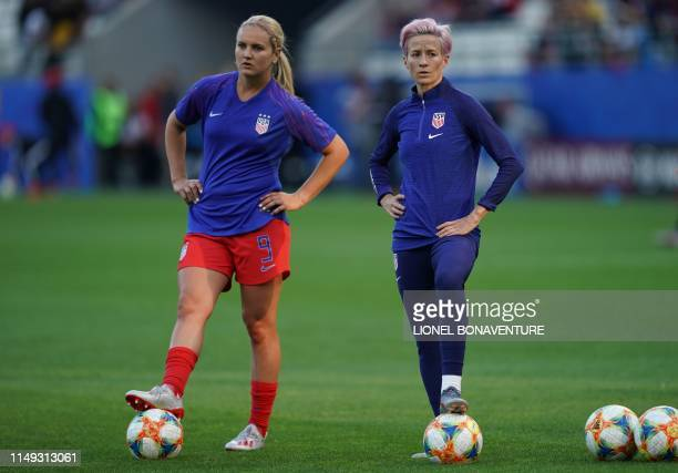 United States' forward Megan Rapinoe and United States' midfielder Lindsey Horan warm up prior to the France 2019 Women's World Cup Group F football...