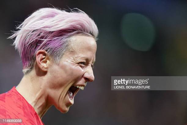 United States' forward Megan Rapinoe celebrates after scoring a goal during the France 2019 Women's World Cup Group F football match between USA and...