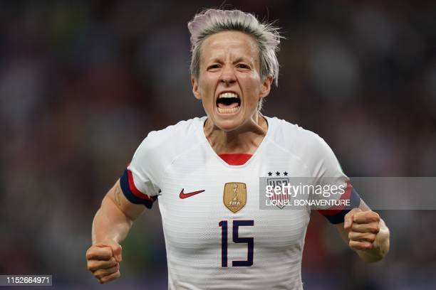 TOPSHOT United States' forward Megan Rapinoe celebrates after scoring a goal during the France 2019 Women's World Cup quarterfinal football match...