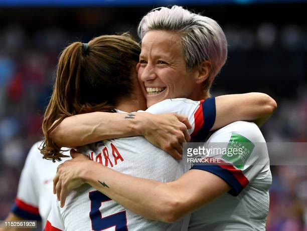 United States' forward Megan Rapinoe celebrates scoring her team's first goal during the France 2019 Women's World Cup quarter-final football match...