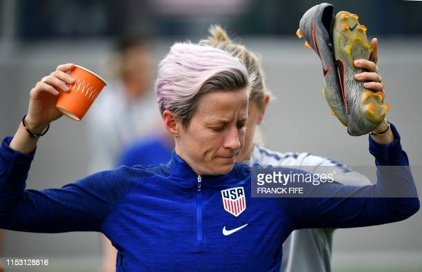 United States' forward Megan Rapinoe gets ready for a training session in Lyon on July 1 during the France 2019 football Women's World Cup The...