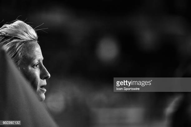 United States forward Megan Rapinoe looks on during the SheBelieves Cup match between USA and England on March 07 at Orlando City Stadium in Orlando...