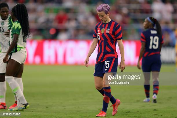 United States forward Megan Rapinoe looks on in action during a Summer Series friendly international match between Nigeria and the United States on...