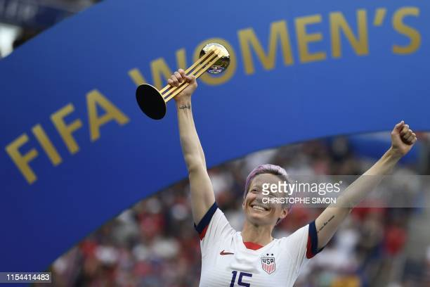 United States' forward Megan Rapinoe poses with the Golden Ball after the France 2019 Womens World Cup football final match between USA and the...